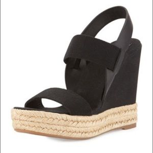 Tory Burch | Black 2-Band Canvas Wedge Sandals
